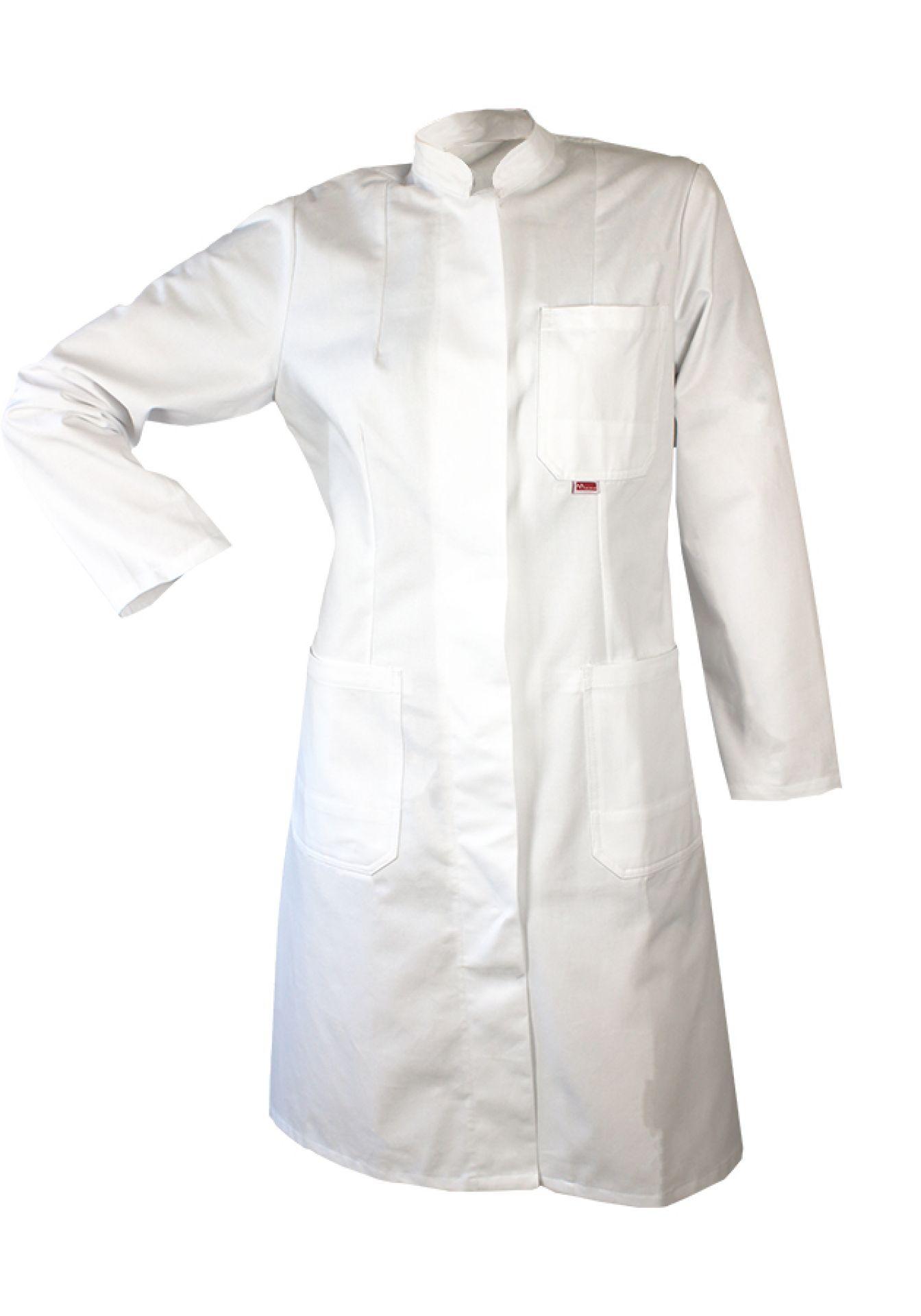 Damen-Labormantel, weiß, Stehkragen, verdeckte Druckknopfleiste