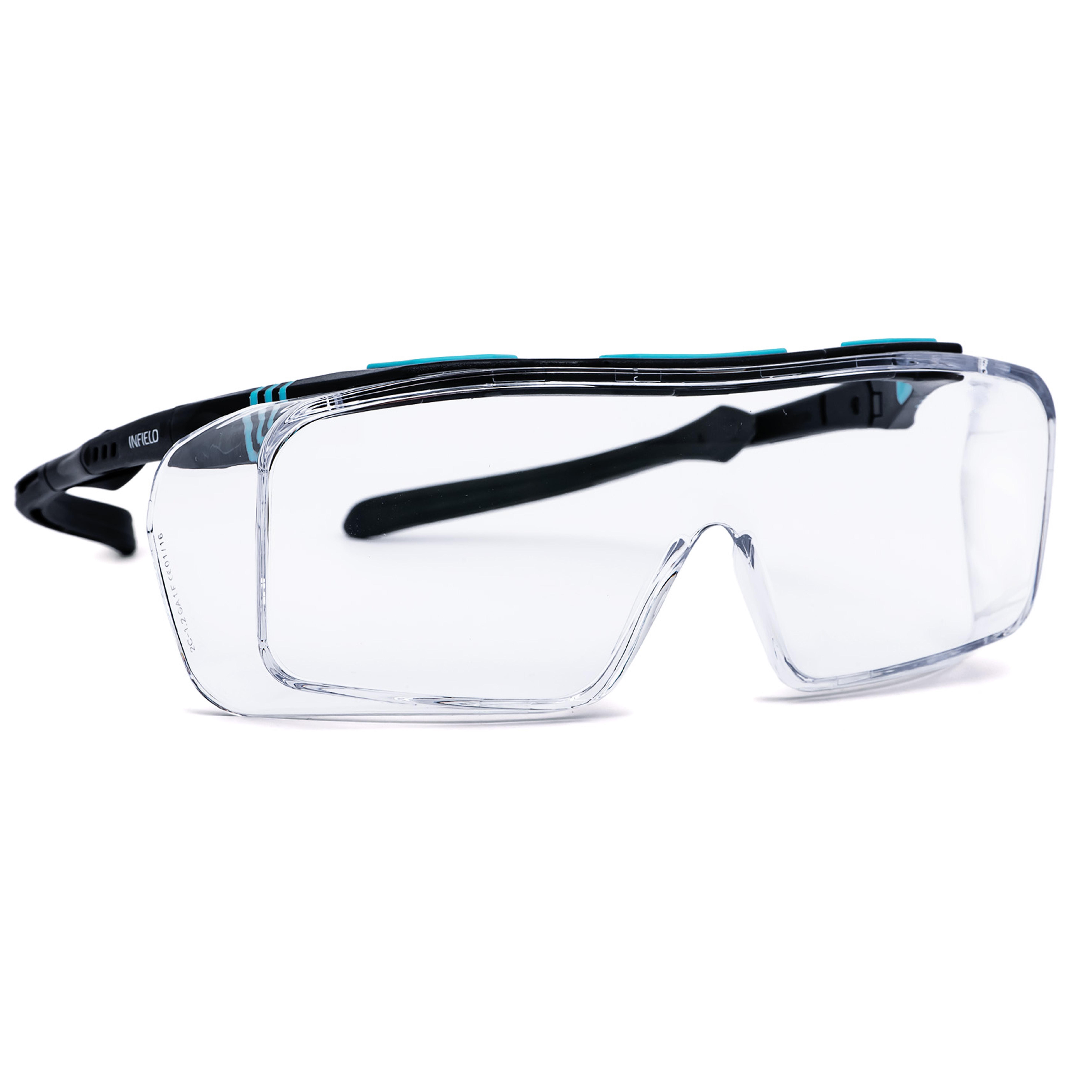 Schutzbrille für Brillenträger, schwarz/türkis