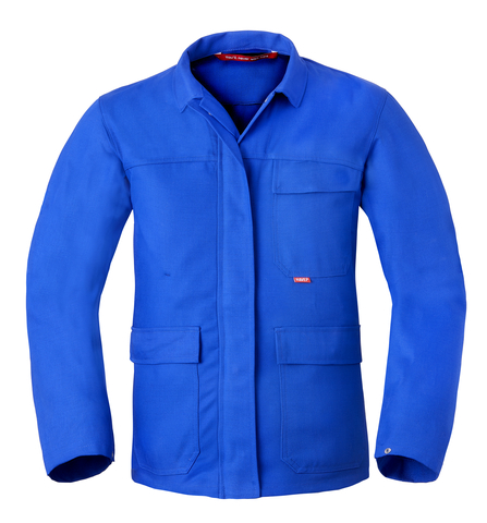 Flammhemmende Arbeitsjacke, royalblau, mit Logos